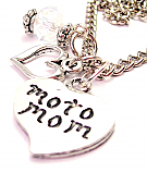 "Moto Mom Heart And Crystal 18"" Necklace"